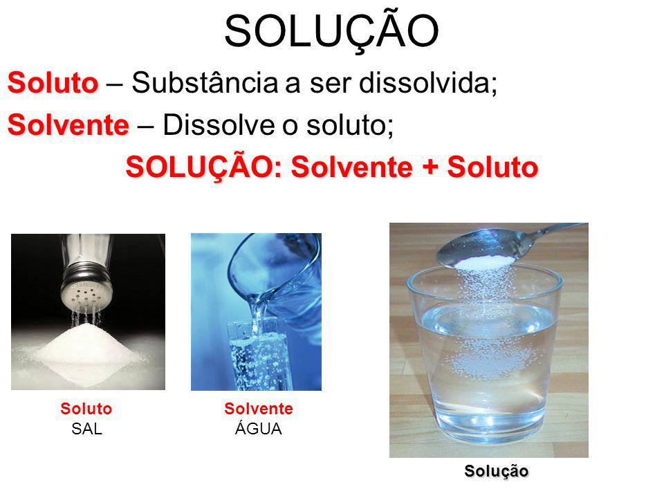 SOLUÇÃO Soluto Soluto – Substância a ser dissolvida; Solvente Solvente – Dissolve o soluto; SOLUÇÃO: Solvente + Soluto Soluto SAL Solvente ÁGUA Soluçã