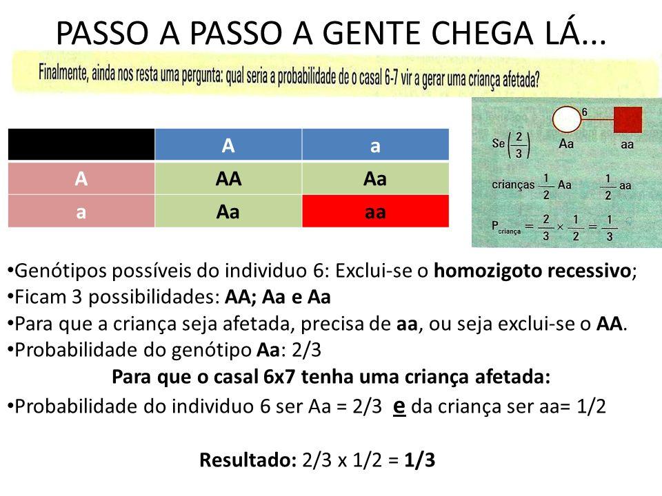 Aa AAAAa a aa Genótipos possíveis do individuo 6: Exclui-se o homozigoto recessivo; Ficam 3 possibilidades: AA; Aa e Aa Para que a criança seja afetada, precisa de aa, ou seja exclui-se o AA.
