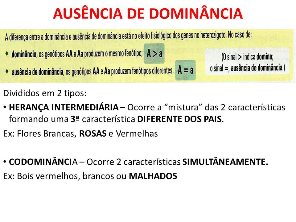 Divididos em 2 tipos: HERANÇA INTERMEDIÁRIA – Ocorre a mistura das 2 características formando uma 3ª característica DIFERENTE DOS PAIS.