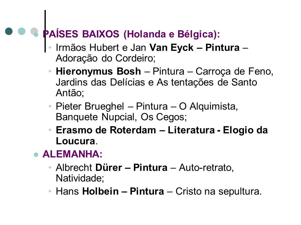 PORTUGAL: Gil Vicente – Teatro – Auto da Visitação e Auto dos Reis Magos; Camões – Literatura – Os Lusíadas ESPANHA: El Greco – Pintura – Vista de Tol