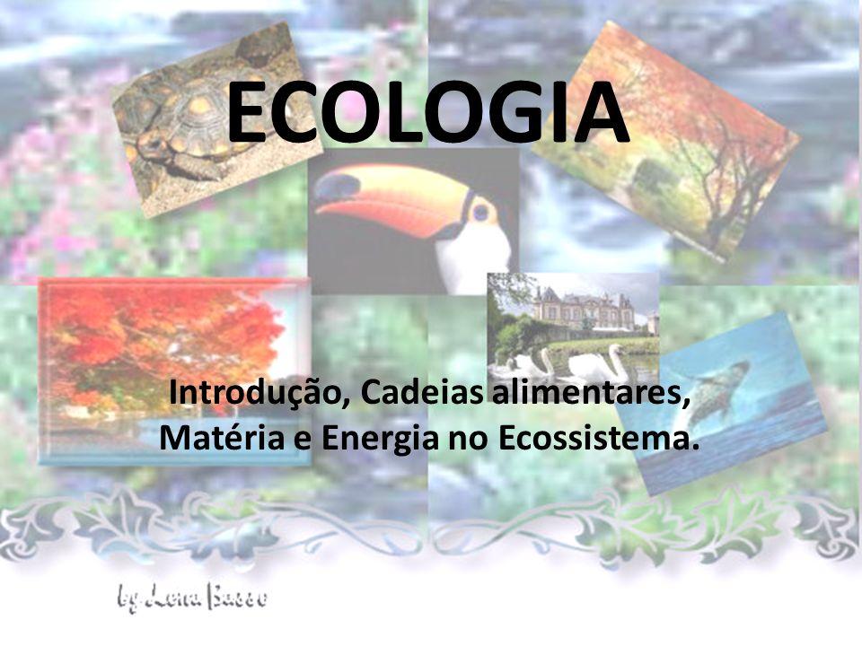 ECOLOGIA Introdução, Cadeias alimentares, Matéria e Energia no Ecossistema.