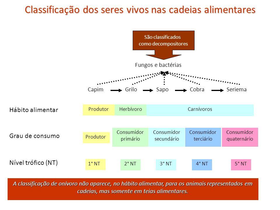 Classificação dos seres vivos nas cadeias alimentares CapimGriloSapoCobraSeriema Fungos e bactérias Hábito alimentar Grau de consumo Nível trófico (NT