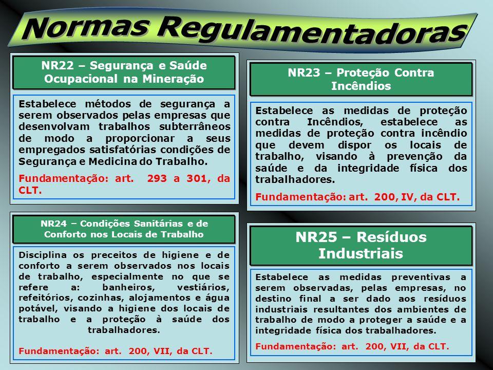 NR26 – Sinalização de Segurança Estabelece a padronização das cores a serem utilizadas como sinalização de segurança nos ambientes de trabalho, de modo a proteger a saúde e a integridade física dos trabalhadores.
