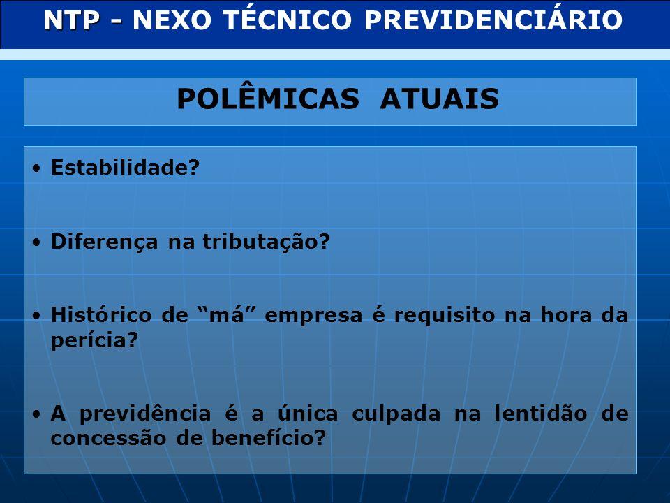 LEI 11.430 DE 27 DE DEZEMBRO DE 2006 NTEP NEXO TÉCNICO EPIDEMIOLÓGICO PREVIDENCIÁRIO