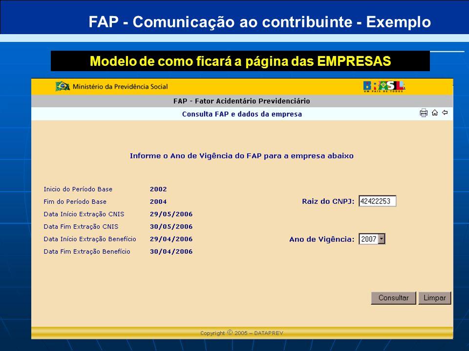 FAP - Comunicação ao contribuinte - Exemplo Modelo de como ficará a página de balanço hominal