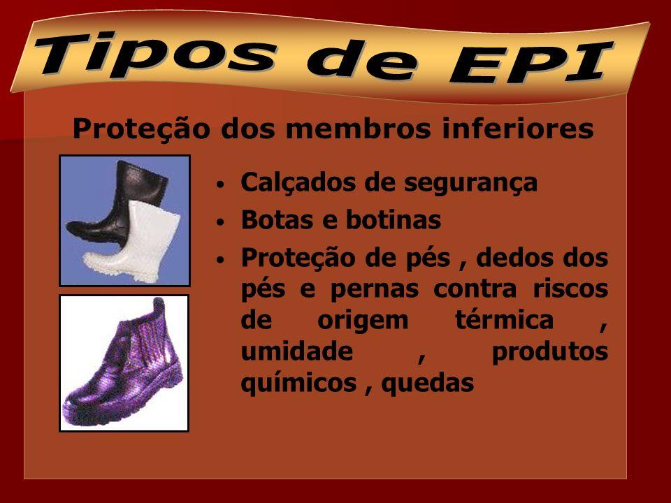 Proteção contra quedas Cintos de segurança tipo paraquedista e com talabarte; Trava quedas; Cadeiras suspensas.