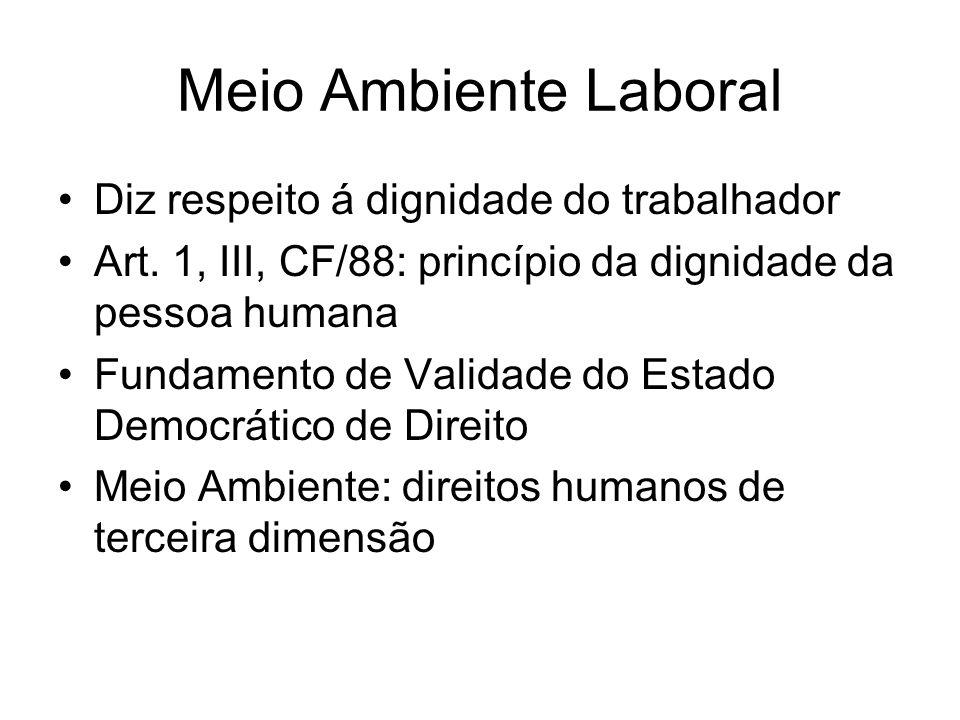 Meio Ambiente laboral Direitos Sociais Trabalhistas Sistema jurídico de tutela do meio ambiente de trabalho Art.