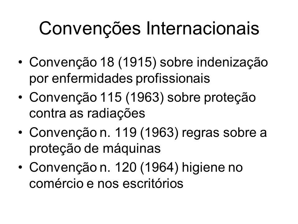 Convenções Internacionais Convenção 127 (1967) sobre o peso máximo de carga para o ser humano Convenção 133 (1970) alojamento a bordo de navios, inclusive tripulação Convenção 136 (1971) intoxicação por benzeno Convenção 139 (1974) prevenção e controle de riscos profissionais causados por substâncias cancerígenas