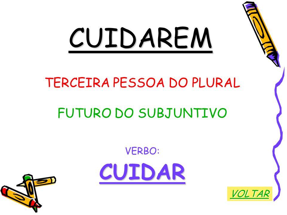 CUIDAREM TERCEIRA PESSOA DO PLURAL FUTURO DO SUBJUNTIVO VERBO:CUIDAR VOLTAR