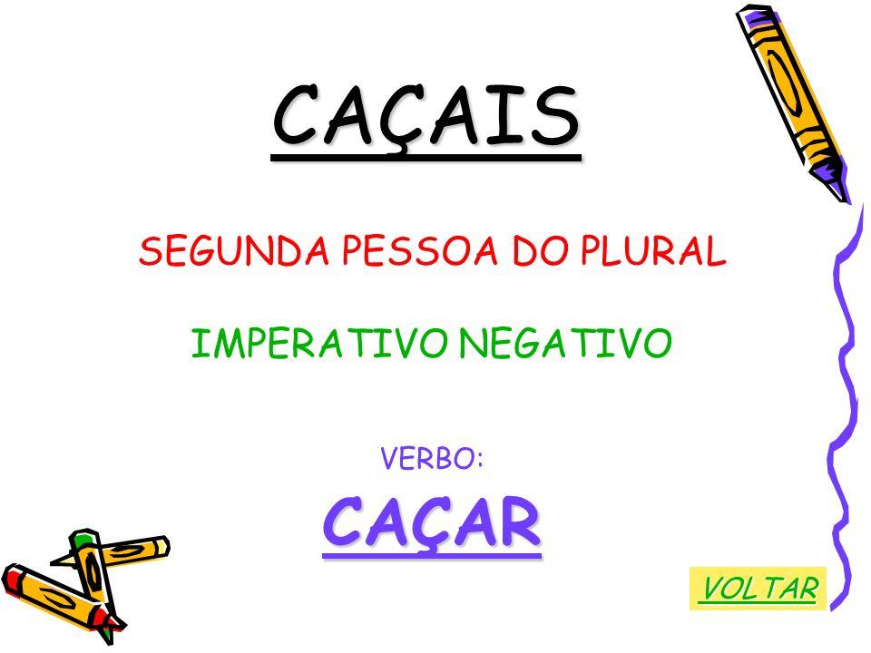 CAÇAIS SEGUNDA PESSOA DO PLURAL IMPERATIVO NEGATIVO VERBO:CAÇAR VOLTAR