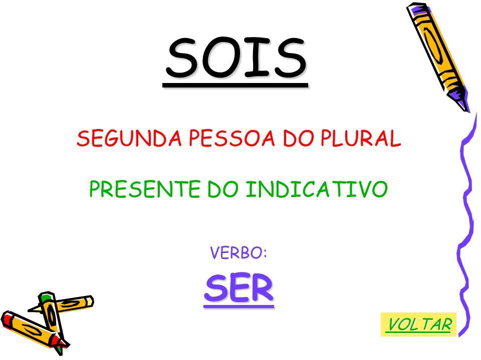 SOIS SEGUNDA PESSOA DO PLURAL PRESENTE DO INDICATIVO VERBO:SER VOLTAR