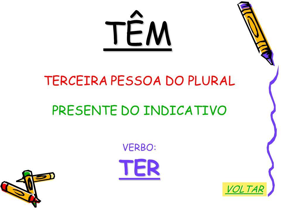 TÊM TERCEIRA PESSOA DO PLURAL PRESENTE DO INDICATIVO VERBO:TER VOLTAR