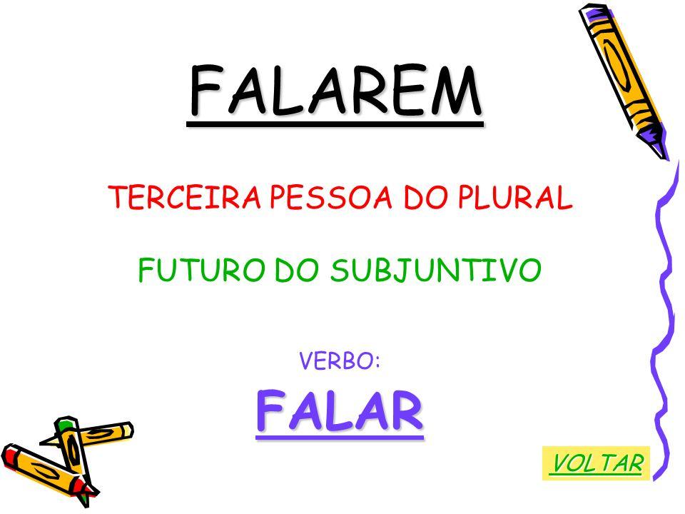 FALAREM TERCEIRA PESSOA DO PLURAL FUTURO DO SUBJUNTIVO VERBO:FALAR VOLTAR