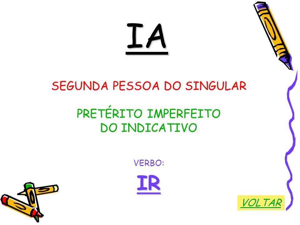 IA SEGUNDA PESSOA DO SINGULAR PRETÉRITO IMPERFEITO DO INDICATIVO VERBO:IR VOLTAR