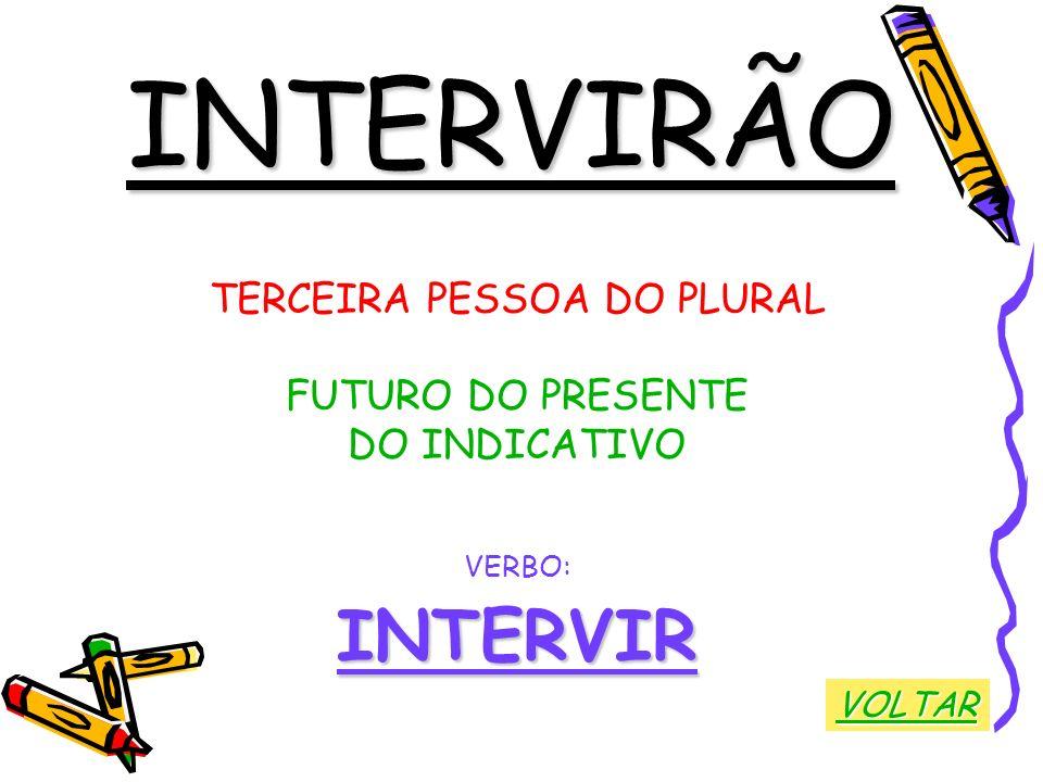INTERVIRÃO TERCEIRA PESSOA DO PLURAL FUTURO DO PRESENTE DO INDICATIVO VERBO:INTERVIR VOLTAR