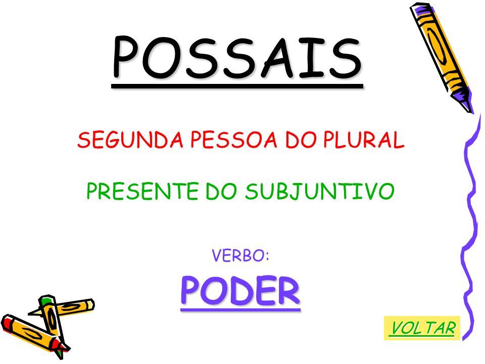 POSSAIS SEGUNDA PESSOA DO PLURAL PRESENTE DO SUBJUNTIVO VERBO:PODER VOLTAR