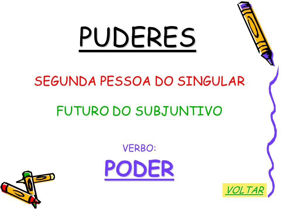 PUDERES SEGUNDA PESSOA DO SINGULAR FUTURO DO SUBJUNTIVO VERBO:PODER VOLTAR