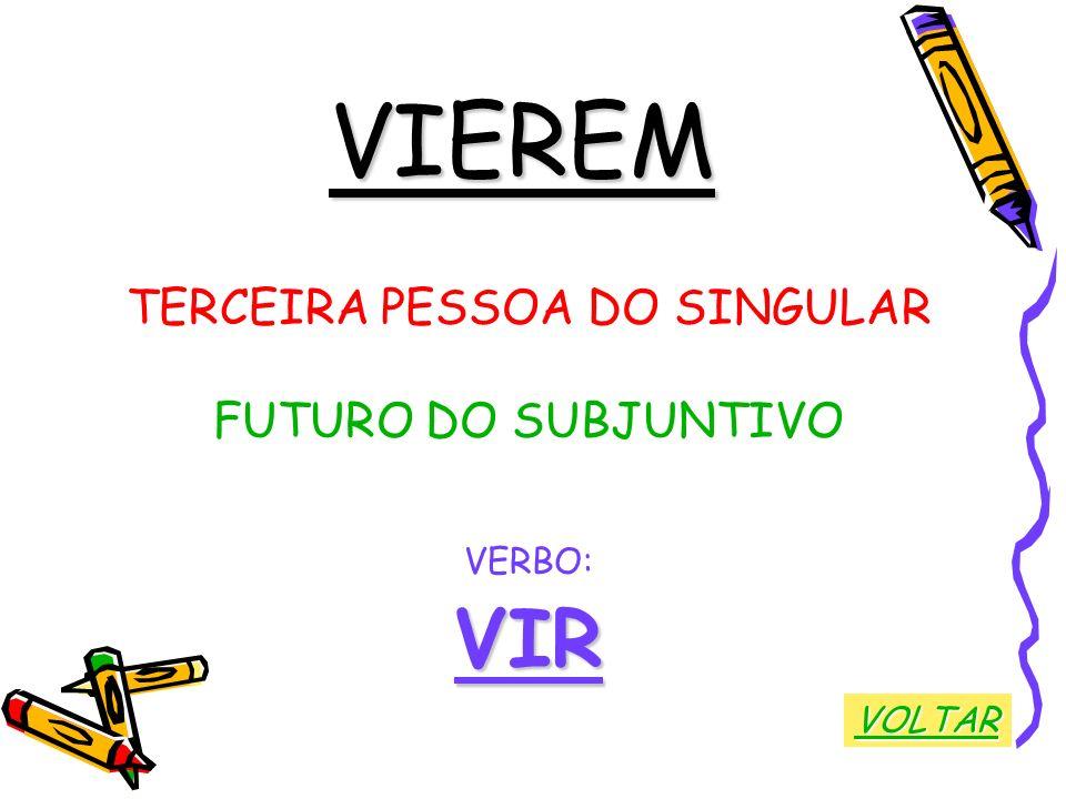 VIEREM TERCEIRA PESSOA DO SINGULAR FUTURO DO SUBJUNTIVO VERBO:VIR VOLTAR
