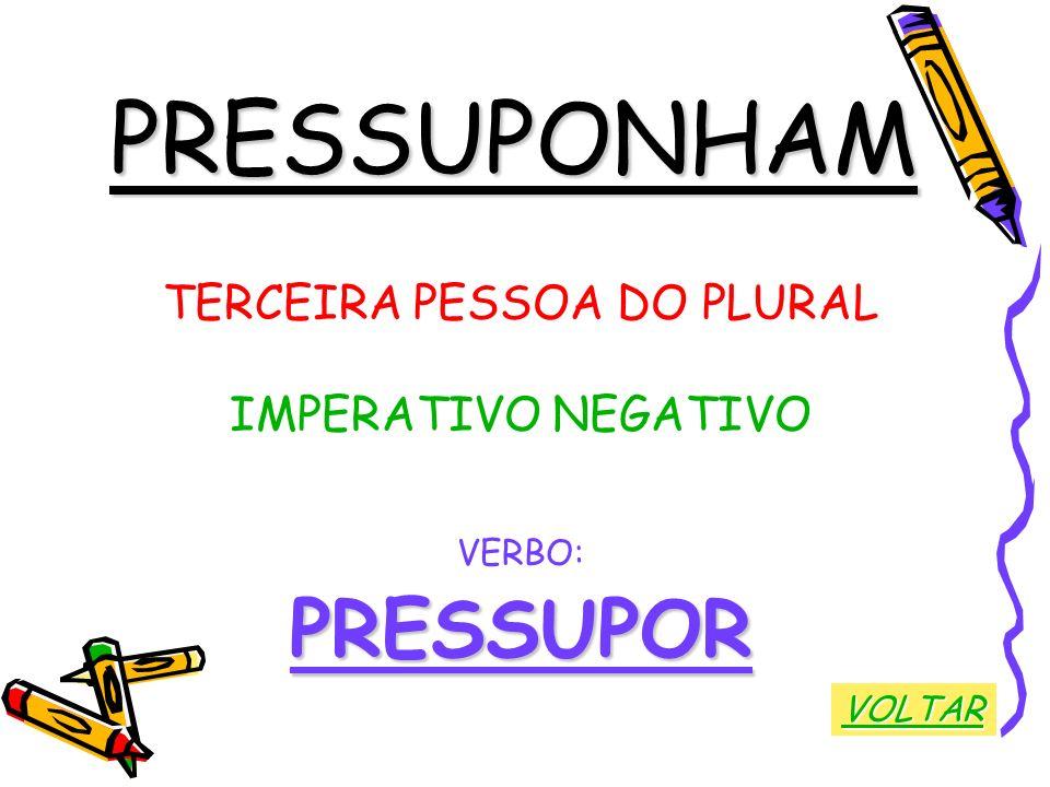 PRESSUPONHAM TERCEIRA PESSOA DO PLURAL IMPERATIVO NEGATIVO VERBO:PRESSUPOR VOLTAR