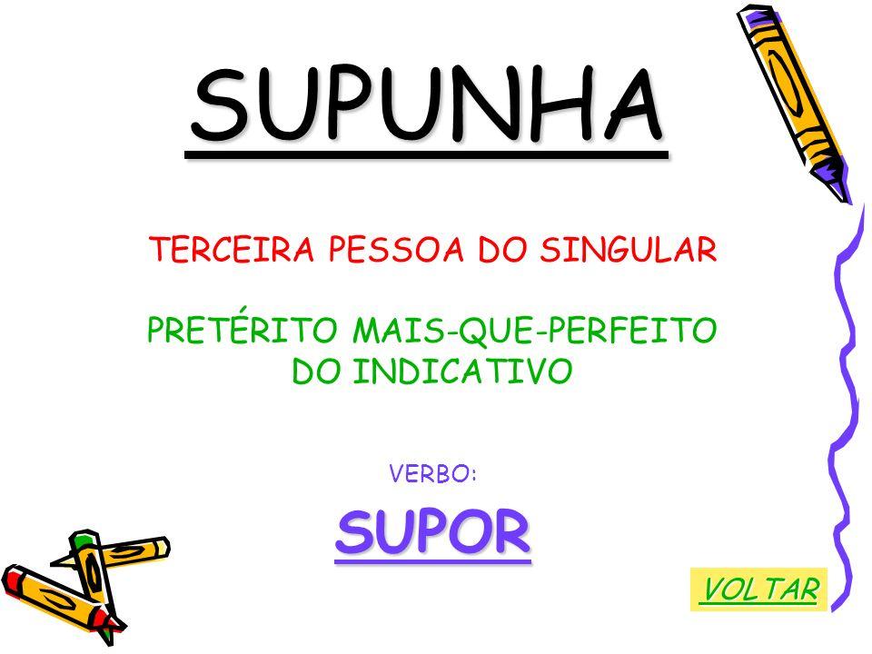 SUPUNHA TERCEIRA PESSOA DO SINGULAR PRETÉRITO MAIS-QUE-PERFEITO DO INDICATIVO VERBO:SUPOR VOLTAR
