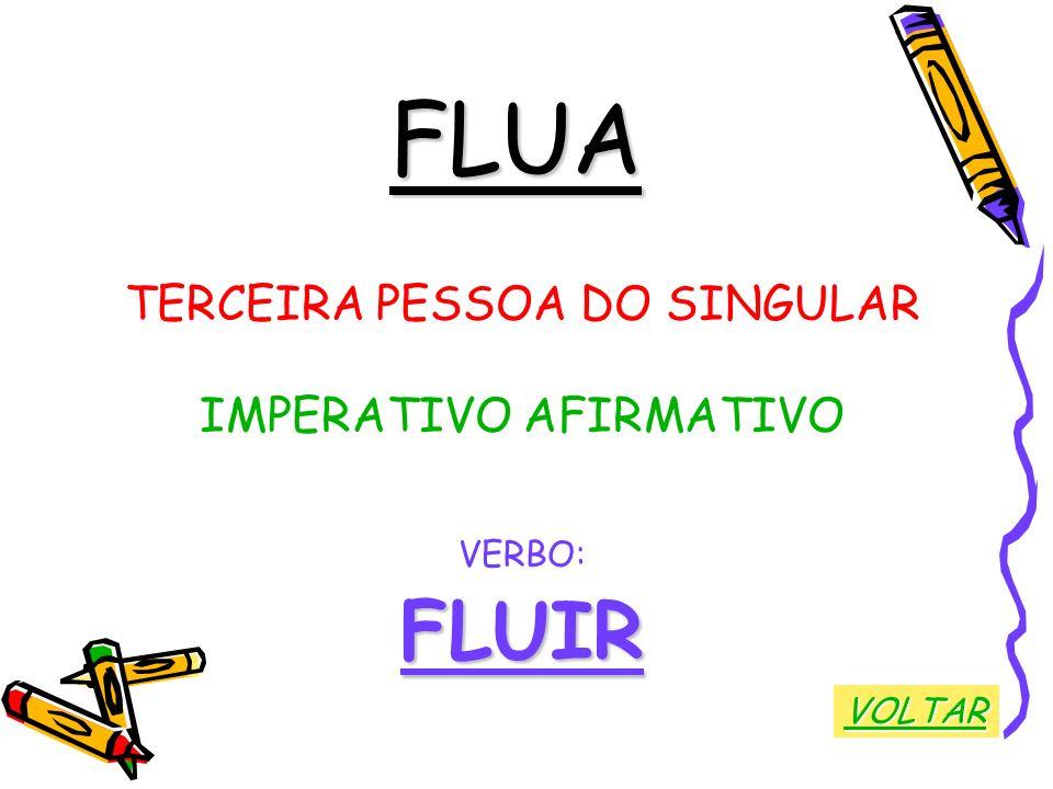 FLUA TERCEIRA PESSOA DO SINGULAR IMPERATIVO AFIRMATIVO VERBO:FLUIR VOLTAR