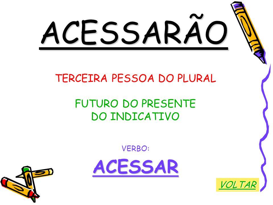 ACESSARÃO TERCEIRA PESSOA DO PLURAL FUTURO DO PRESENTE DO INDICATIVO VERBO:ACESSAR VOLTAR