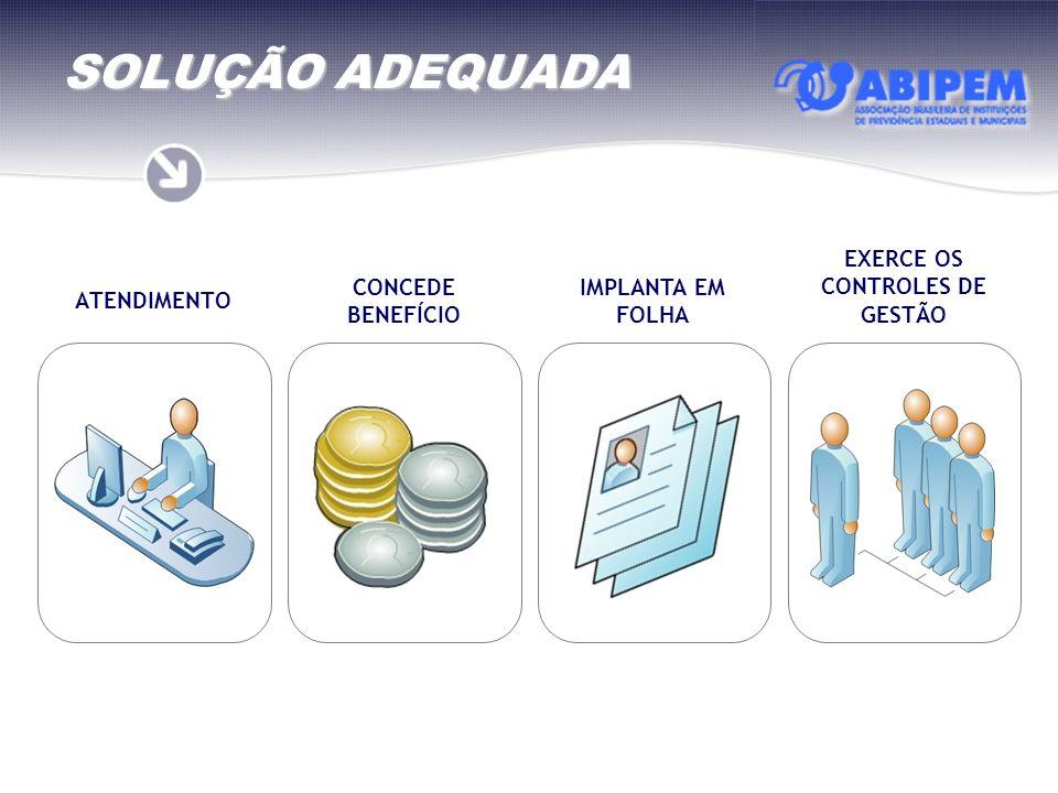 SOLUÇÃO ADEQUADA ATENDIMENTO CONCEDE BENEFÍCIO IMPLANTA EM FOLHA EXERCE OS CONTROLES DE GESTÃO
