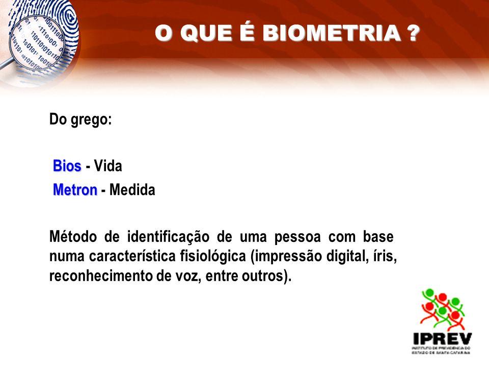 Do grego: Bios Bios - Vida Metron Metron - Medida Método de identificação de uma pessoa com base numa característica fisiológica (impressão digital, í