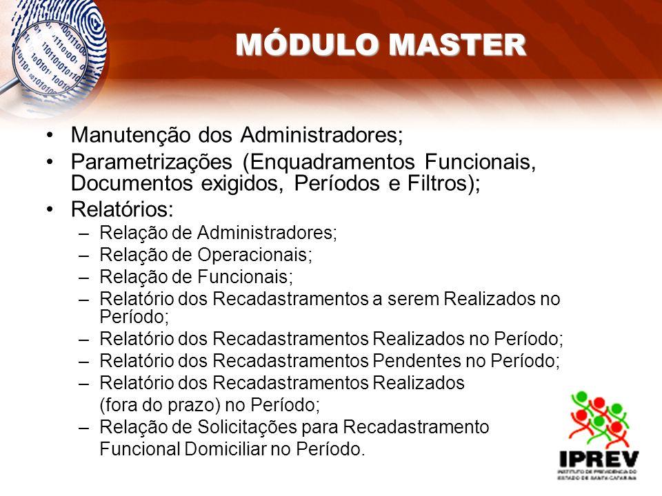 MÓDULO MASTER Manutenção dos Administradores; Parametrizações (Enquadramentos Funcionais, Documentos exigidos, Períodos e Filtros); Relatórios: –Relaç