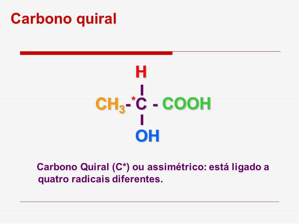 Carbono quiral Carbono Quiral (C*) ou assimétrico: está ligado a quatro radicais diferentes. CH 3 - C - COOH OHH CH 3 * OHHCOOH