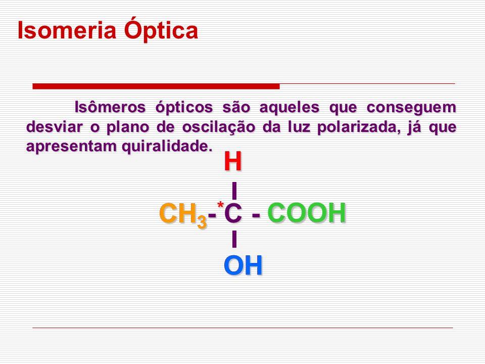 Isomeria Óptica Isômeros ópticos são aqueles que conseguem desviar o plano de oscilação da luz polarizada, já que apresentam quiralidade. CH 3 - C - C