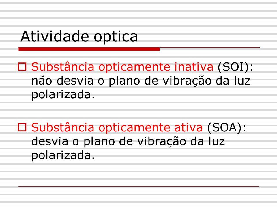 Atividade optica Substância opticamente inativa (SOI): não desvia o plano de vibração da luz polarizada. Substância opticamente ativa (SOA): desvia o