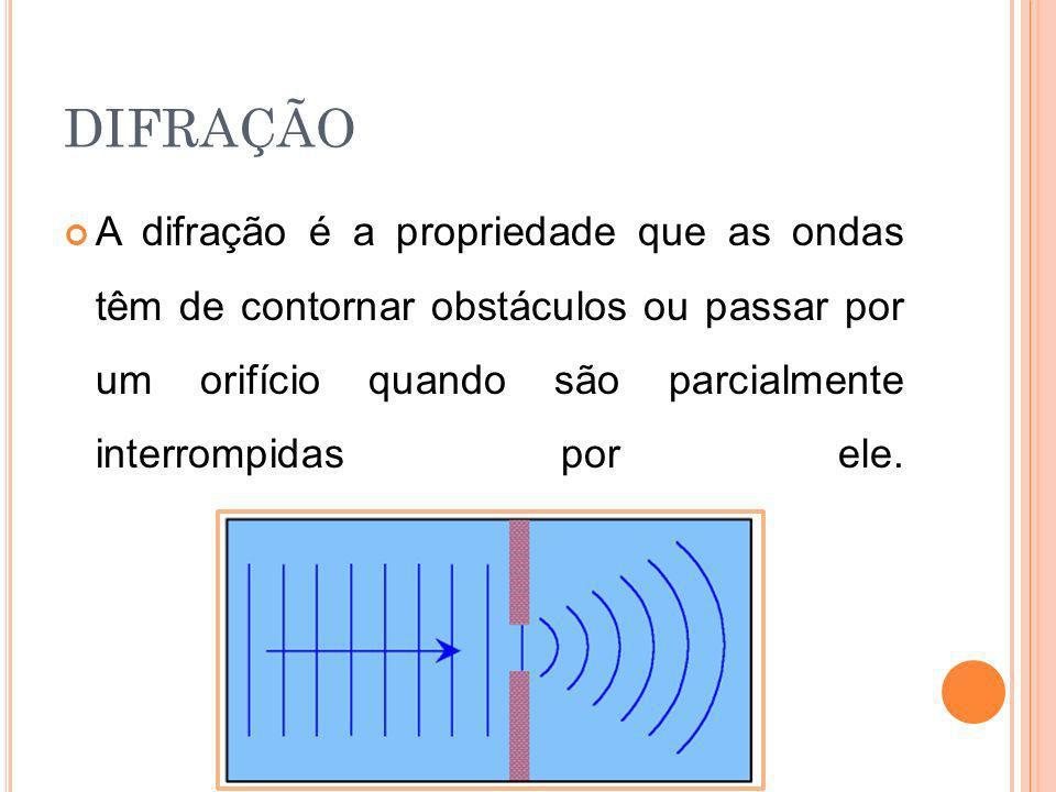 DIFRAÇÃO A difração é a propriedade que as ondas têm de contornar obstáculos ou passar por um orifício quando são parcialmente interrompidas por ele.