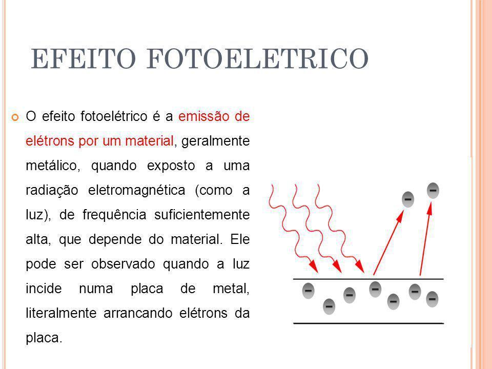 EFEITO FOTOELETRICO O efeito fotoelétrico é a emissão de elétrons por um material, geralmente metálico, quando exposto a uma radiação eletromagnética