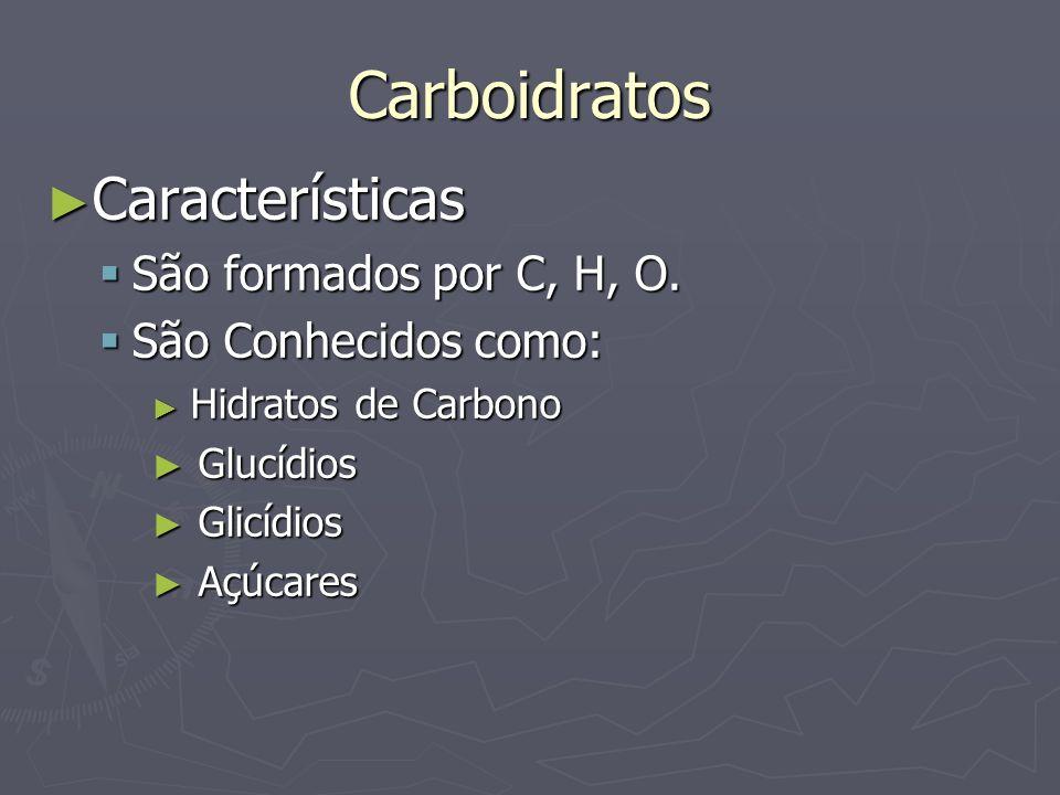 Carboidratos Características Características São formados por C, H, O. São formados por C, H, O. São Conhecidos como: São Conhecidos como: Hidratos de
