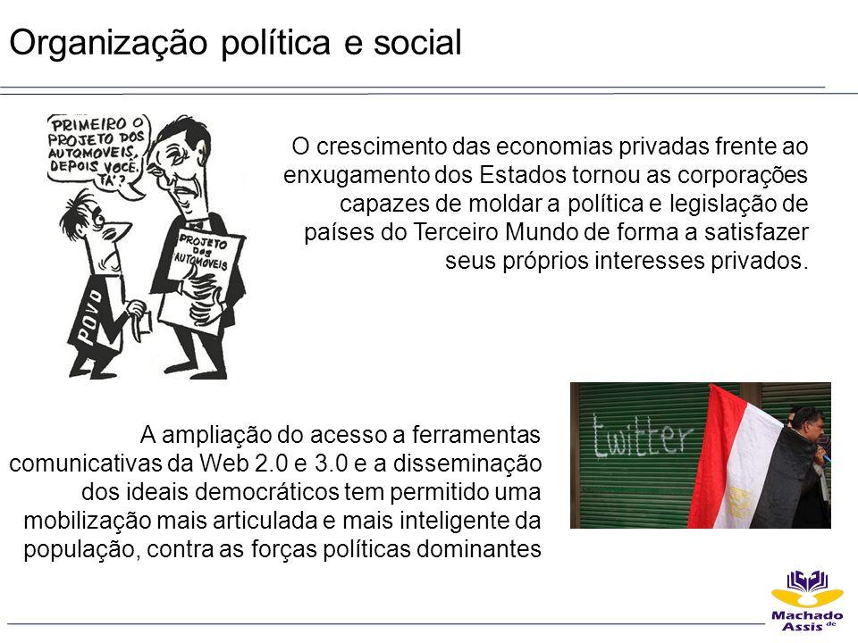 Organização política e social O crescimento das economias privadas frente ao enxugamento dos Estados tornou as corporações capazes de moldar a polític