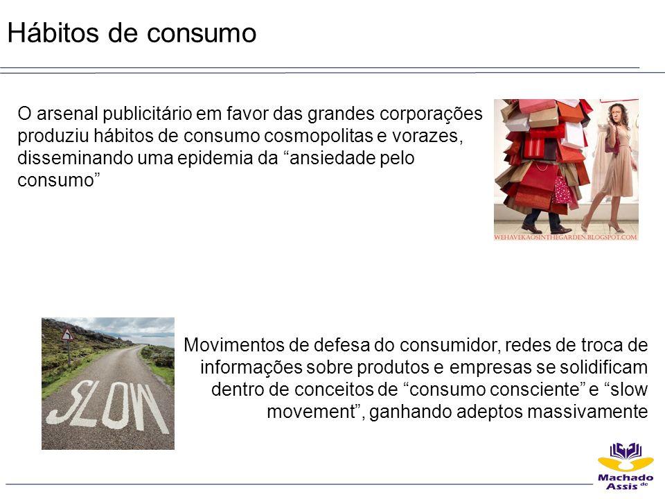 Hábitos de consumo O arsenal publicitário em favor das grandes corporações produziu hábitos de consumo cosmopolitas e vorazes, disseminando uma epidem