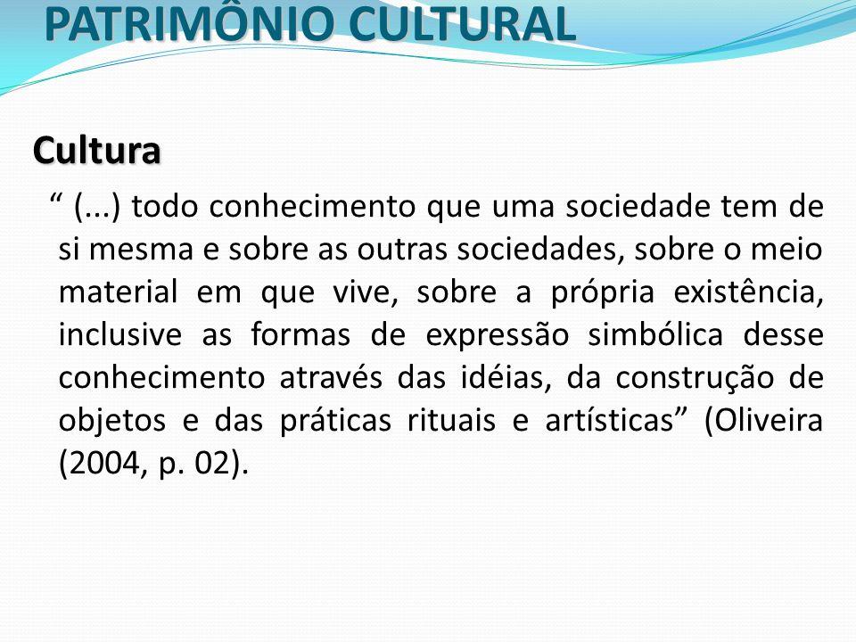 PATRIMÔNIO CULTURAL Cultura (...) todo conhecimento que uma sociedade tem de si mesma e sobre as outras sociedades, sobre o meio material em que vive,