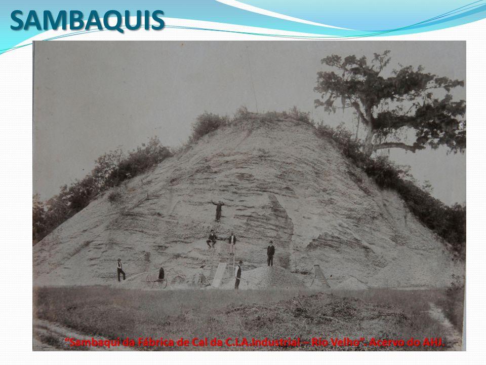 SAMBAQUIS Sambaqui da Fábrica de Cal da C.I.A.Industrial – Rio Velho. Acervo do AHJ Sambaqui da Fábrica de Cal da C.I.A.Industrial – Rio Velho. Acervo