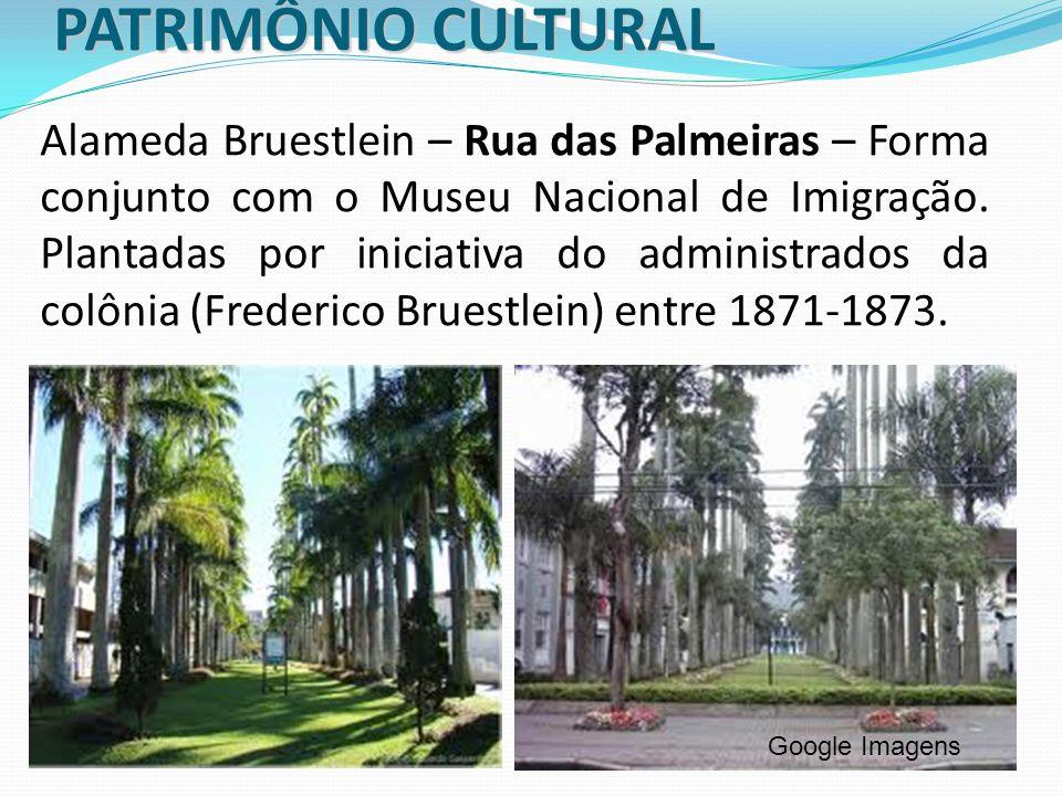 PATRIMÔNIO CULTURAL Alameda Bruestlein – Rua das Palmeiras – Forma conjunto com o Museu Nacional de Imigração. Plantadas por iniciativa do administrad