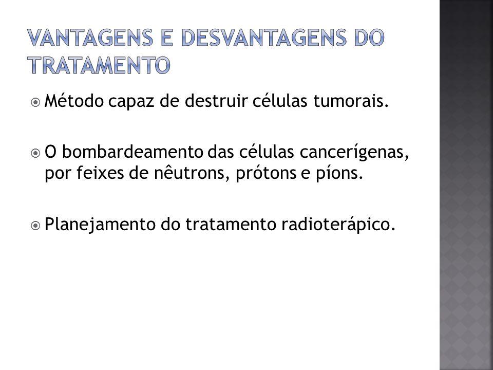 Método capaz de destruir células tumorais. O bombardeamento das células cancerígenas, por feixes de nêutrons, prótons e píons. Planejamento do tratame