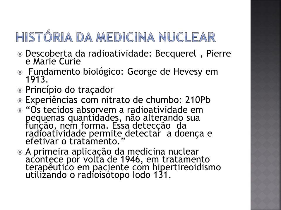 Descoberta da radioatividade: Becquerel, Pierre e Marie Curie Fundamento biológico: George de Hevesy em 1913. Princípio do traçador Experiências com n