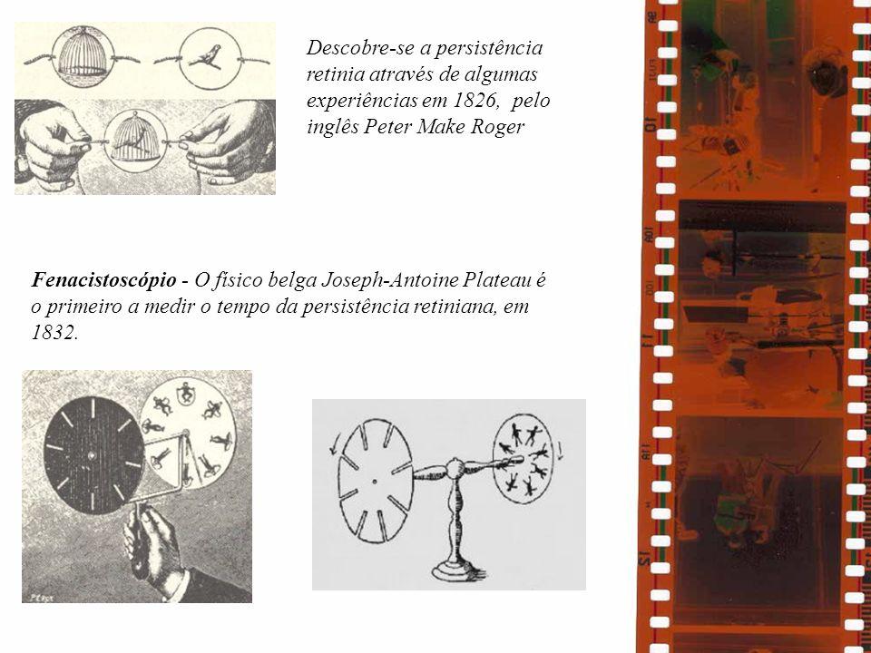 Descobre-se a persistência retinia através de algumas experiências em 1826, pelo inglês Peter Make Roger Fenacistoscópio - O físico belga Joseph-Antoi