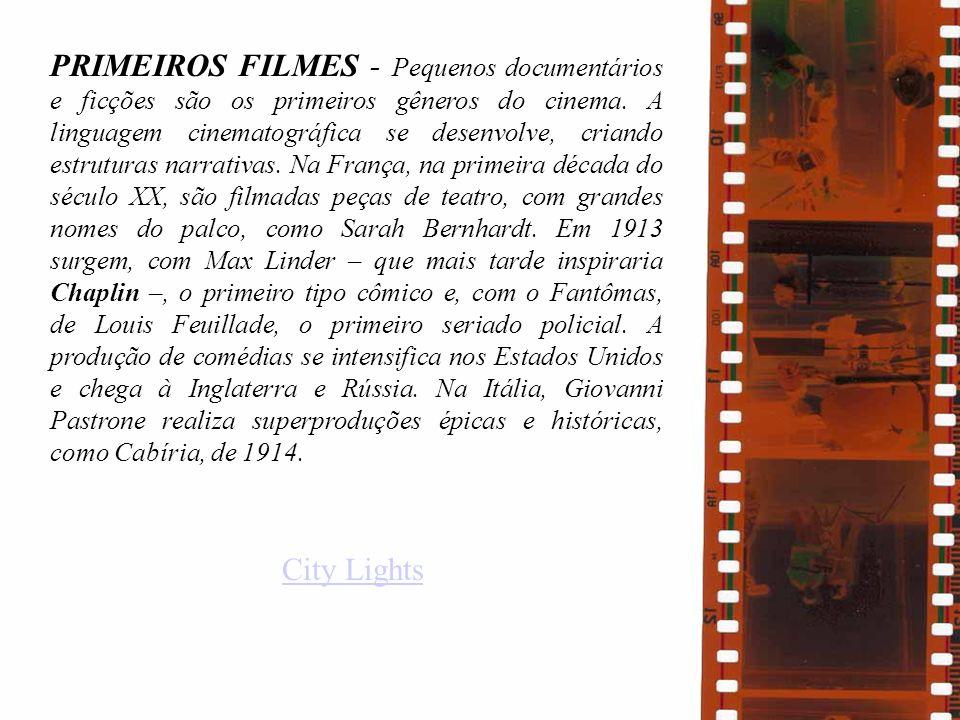 PRIMEIROS FILMES - Pequenos documentários e ficções são os primeiros gêneros do cinema. A linguagem cinematográfica se desenvolve, criando estruturas