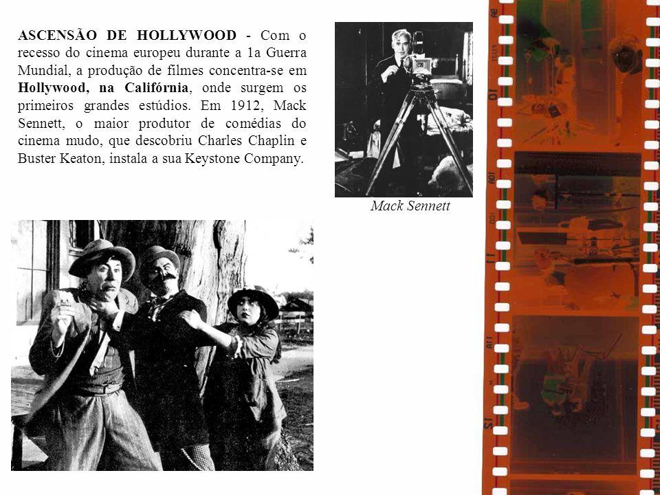 ASCENSÃO DE HOLLYWOOD - Com o recesso do cinema europeu durante a 1a Guerra Mundial, a produção de filmes concentra-se em Hollywood, na Califórnia, on