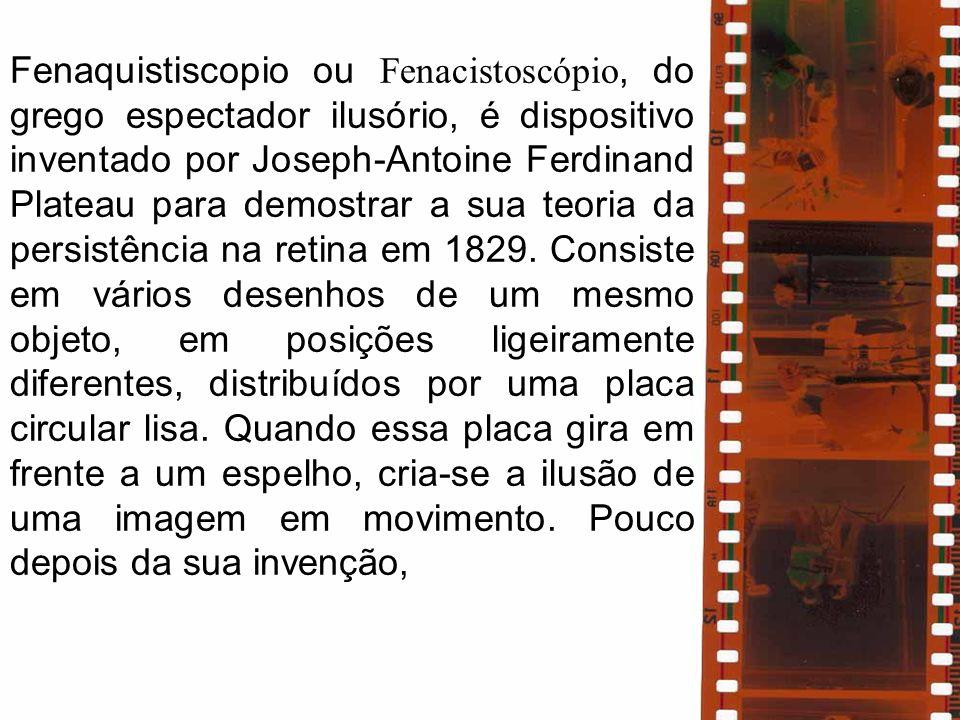 Fenaquistiscopio ou Fenacistoscópio, do grego espectador ilusório, é dispositivo inventado por Joseph-Antoine Ferdinand Plateau para demostrar a sua t