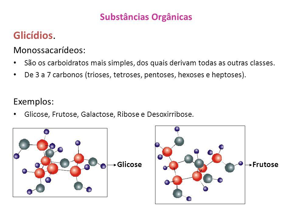 Substâncias Orgânicas Glicídios. Monossacarídeos: São os carboidratos mais simples, dos quais derivam todas as outras classes. De 3 a 7 carbonos (trio