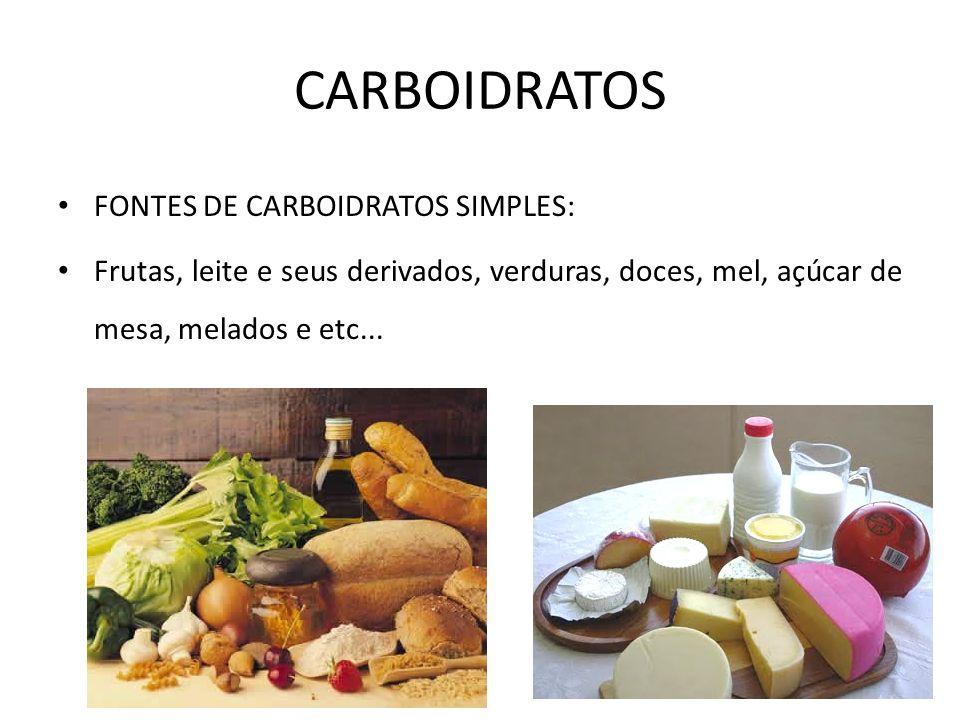 FONTES DE CARBOIDRATOS SIMPLES: Frutas, leite e seus derivados, verduras, doces, mel, açúcar de mesa, melados e etc... CARBOIDRATOS