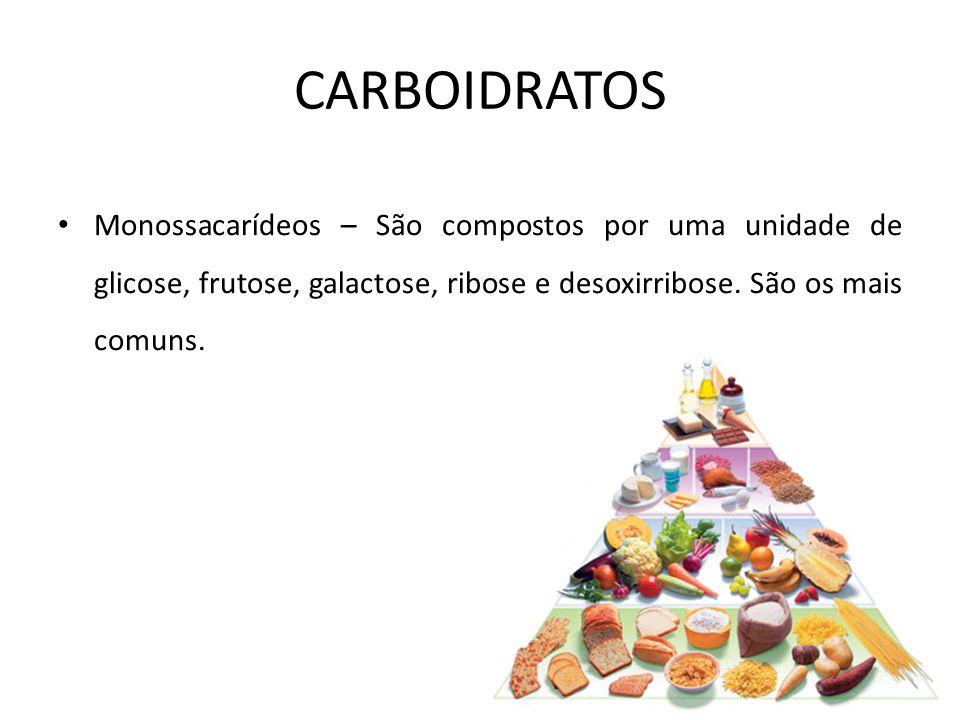Monossacarídeos – São compostos por uma unidade de glicose, frutose, galactose, ribose e desoxirribose. São os mais comuns. CARBOIDRATOS