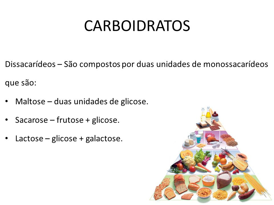 Dissacarídeos – São compostos por duas unidades de monossacarídeos que são: Maltose – duas unidades de glicose. Sacarose – frutose + glicose. Lactose